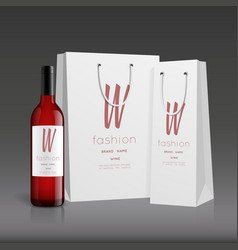 Mockup wine bottle design vector
