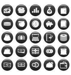 money icons set vetor black vector image