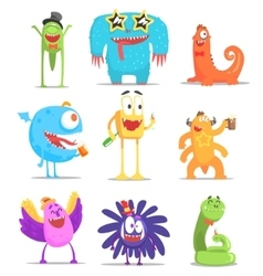 Monsters Having Fun At The Party vector
