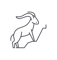 mountain goat line icon concept mountain goat vector image