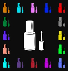 NAIL POLISH BOTTLE icon sign Lots of colorful vector