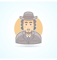 Native orthodox Jewish man icon vector image
