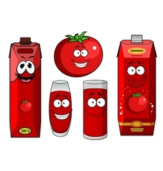 Natural tomato juice cartoon characters vector image