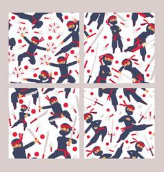 ninja characters seamless pattern cartoon vector image