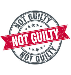 Not guilty red round grunge vintage ribbon stamp vector