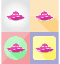 Objects for recreation a beach flat icons 08 vector