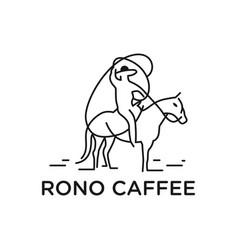 outline cowboy rider logo vector image