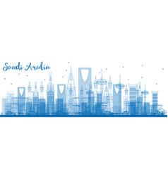 Outline saudi arabia skyline with blue landmarks vector