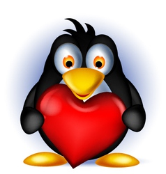 penguin cartoon holding heart love vector image