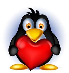 penguin cartoon holding heart love vector image