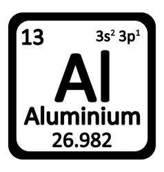 Periodic table element aluminium icon vector