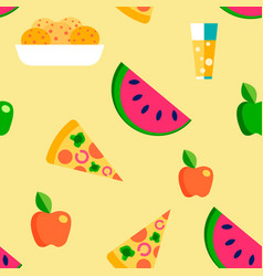 picnic barbecue snacks food seamless pattern vector image