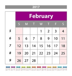 Planning calendar February 2017 Monthly scheduler vector