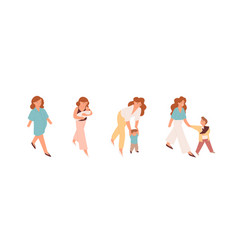 pregnant woman mother with newborn bamom vector image