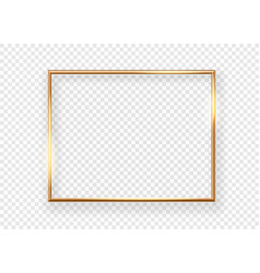 Realistic gold horizontal shining photoframe on a vector