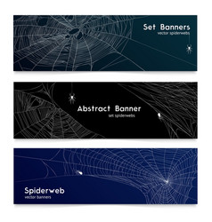 realistic spider web cobweb banners vector image