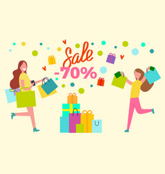 sale -70 shopping women vector image