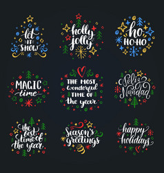 set new year hand lettering on black background vector image