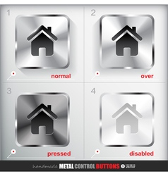 Set of four positions of Metal Home Button vector