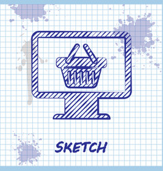 sketch line computer monitor with shopping basket vector image