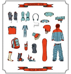 Snowboard equipment vector