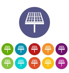 Solar energy panel set icons vector