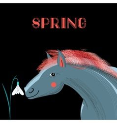 Spring card with a picture of horse vector image