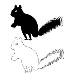 squirrel silhouette outline icon eps set vector image