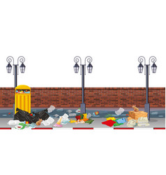 Street scene with rubbish vector