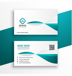 Stylish turquoise and white business card design vector