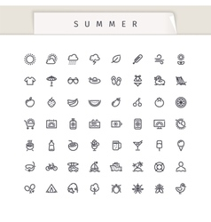 Summer and Vacation Stroke Icons Set vector image