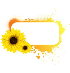 sunflower grunge frame vector image