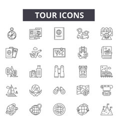 tour line icons for web and mobile design vector image