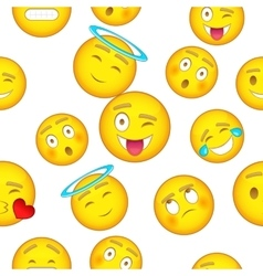 Types of emoticons pattern cartoon style vector