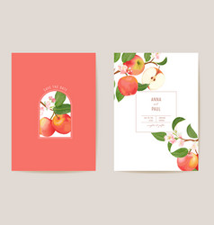 Wedding apple floral card exotic fruits vector
