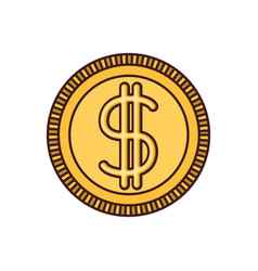 White background with money coin icon with black vector