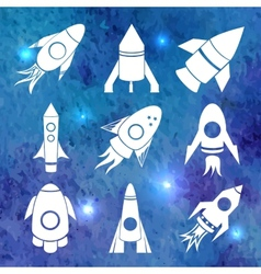 white rockets icons on watercolor background vector image vector image
