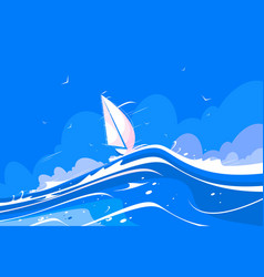 white sailing yacht vector image