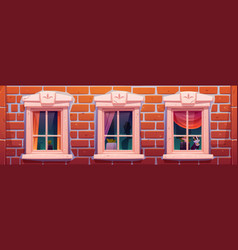 windows house or castle brick wall facade vector image