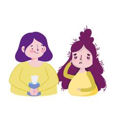 Women with tissues box and headache design vector