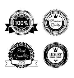 Golden round reward seals collection with vector