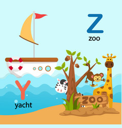 isolated alphabet letter y-yacht z-zoo vector image vector image