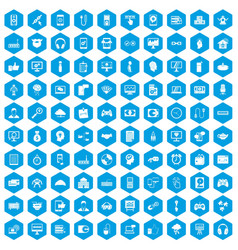 100 programmer icons set blue vector image vector image