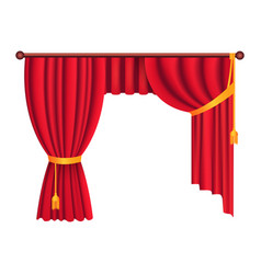 classic heavy red drapes with gold tie back vector image vector image