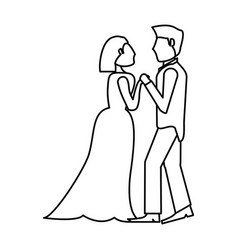 couple wedding romantic outline vector image