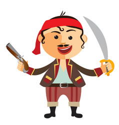 pirate with pistol isolated on a white vector image vector image