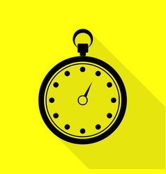 stopwatch sign black icon with flat vector image
