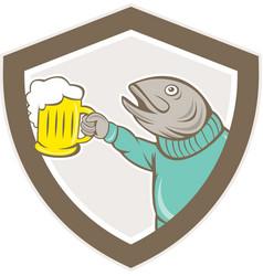 Trout Fish Holding Beer Mug Shield Cartoon vector image vector image