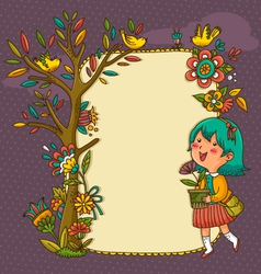 blooming frame vector image