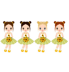 cute little girls with sunflowers vector image vector image
